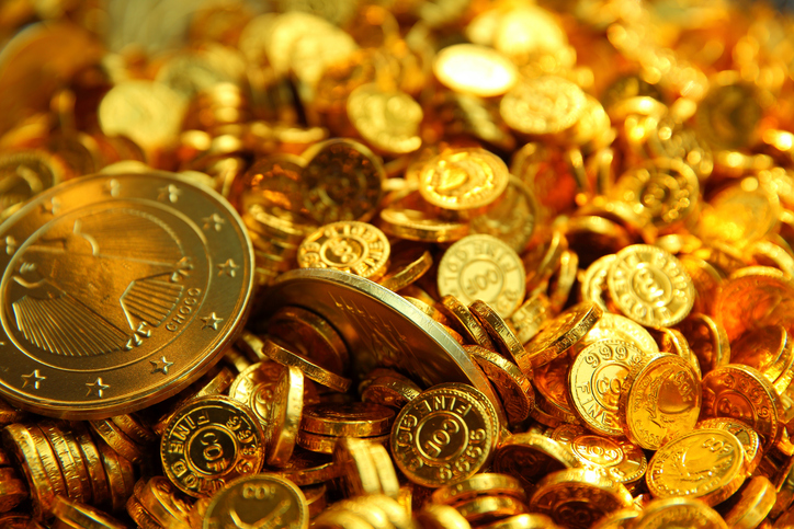 A pile of gold chocolate coins.