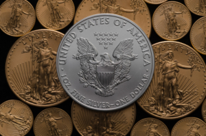United States Silver Eagle Coin on American Gold Eagles