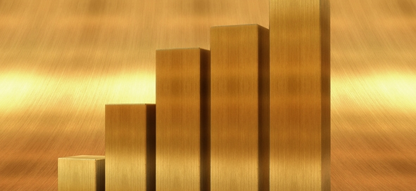 Gold bar chart against gold background